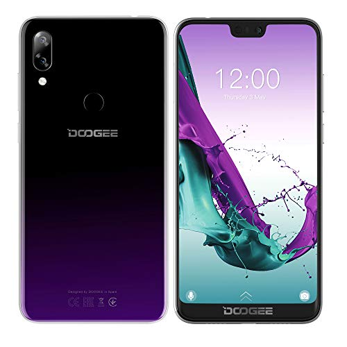 DOOGEE N10 Smartphone Móvil Libre - 5.84 Pulgadas FHD + (1080 * 2280) Teléfono Android 8.0 4G con Pantalla en U, 1.6GHz Octa Core 3GB + 32GB, Cámara Triple 16MP + 16MP + 13MP, Dual SIM - Púrpura