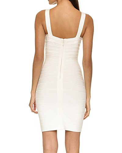 Whoinshop da donna ricamato senza maniche benda Bodycon mini party Dress White