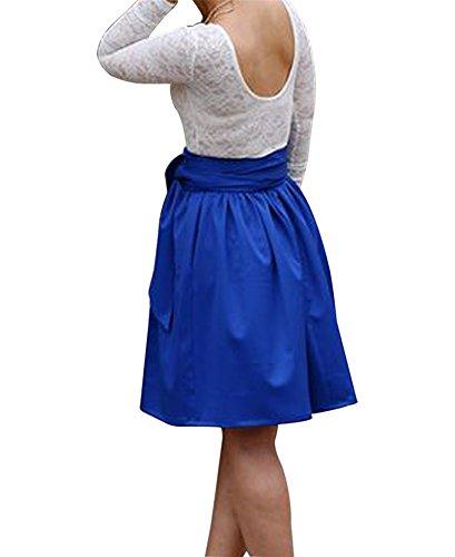 CoutureBridal® Damen Rock Vintage Elegant Faltenrock Sommer Rock Knielang mit Gürtel mit Taschen Satin 65CM Blau Saphir