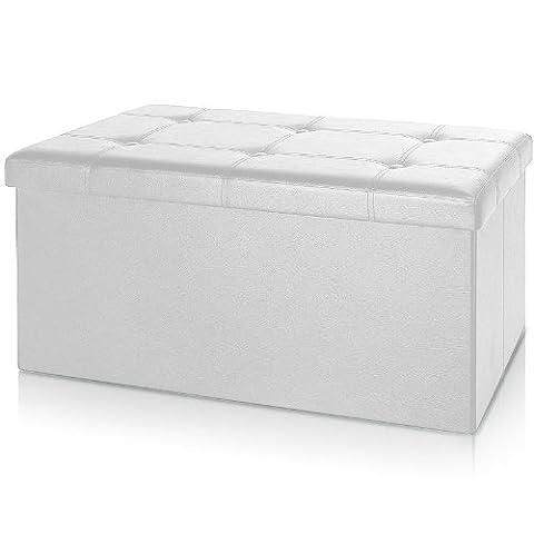 Banc pliable en MDF avec rangement - Siège Repose-pied Pouf 80x40x40cm blanc