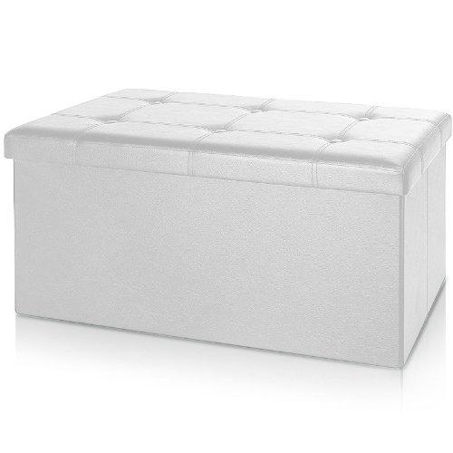 Deuba Faltbare Sitztruhe Sitzbank mit Stauraum 100 L Kunstleder Weiß 80x40x40 cm belastbar gepolstert Truhenbank Truhe