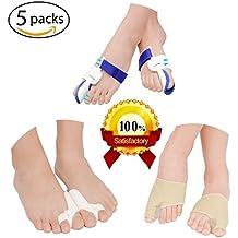 Ebuy- Corrector de juanetes, 5unidades, protectores y enderezadores de dedo gordo del pie, férula para evitar el dolor de pies cuidado, separadores de gel para los dedos