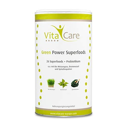 VitaCare Green Smoothie-Pulver für echte Superfood Smoothies - 360 Gramm, mit 26 Vitalstoffen, nur 36 kcal ideal für die Diät, Glutenfrei, Vegan und Zuckerfrei - Superfood-mix