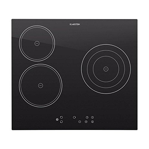 Klarstein Virtuosa - Plaque de cuisson encastrable avec 3 plaques en vitrocéramique d'une puissance totale de 5300W (minuterie et extinction automatique, protection surchauffe, reconnaissance de casserole, affichage chaleur restante)