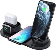 Innoo Tech Wireless Charger, 6 in 1 Wireless Fast Charging Stand for Apple Watch/AirPods Pro/iPhone 12/11/11pr