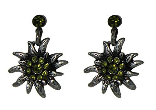 Trachtenschmuck Dirndl Ohrstecker Edelweiss Silberfarben mit Strass Olivine grün Ohrringe