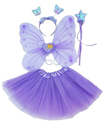 Fun Play Lila Fee Verkleidung Kostüm für Mädchen - Schmetterling Fee Flügel, Ballettröckchen, Zauberstab und Stirnband Fee Kostüm-Set für 3-8 Jahre (Kostüm Fee Lila)