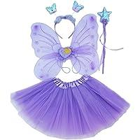 Fun Play 4-pièces Déguisement de fée papillon - Ailes, Baguette, Serre-tête et tutu - papillon deguisement pour enfants 3 - 8 ans