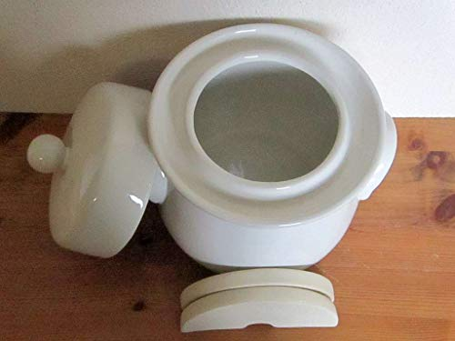 Mini-Gärtopf 4,0L creme mit Deckel und Steinen - Beige Crock