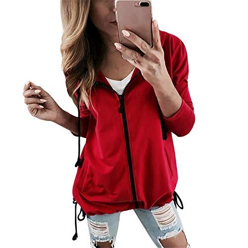 Spriteman Beiläufig Damen Bandage Langarm Sweatshirt Outwear Mit Kapuze Jacke Mantel Frauen Mode Einfarbig Reißverschluss Blazer Parkajacke Elegant Patchwork Hoodie Jacke Coat (XL, Rot)