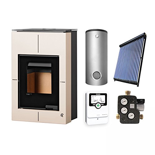 Aquaflam KS2830 Vario Saporo Basic Creme Wasserführender Kaminofen Komplett-Set + Solarthermie-Set 2 (11 m²) + Hygienespeicher SHS 550 + 1 SWT
