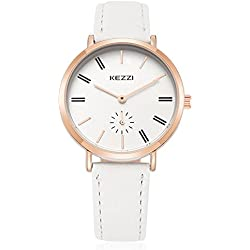 Fashion Leather Strap Quartz Women Girl Wrist Watch,White