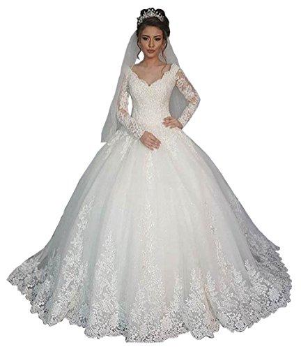 FNKSCRAFT Perlen Langarm Hochzeitskleider Spitze V-Ausschnitt Damen Winter Hochzeitskleid