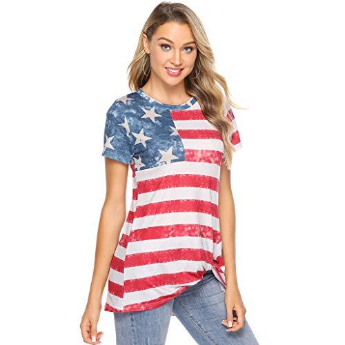 Bellelove Große Größen Damen Mode Lose Bluse Star Stripe T-Shirt Rundhals Kurzarm Elegant Casual Damentwist Knotted Stripe American Flag T-Shirt -