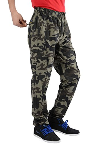 JTInternational Green Brown Cotton Regular Fit Men's Cargo Track Pant (Large)