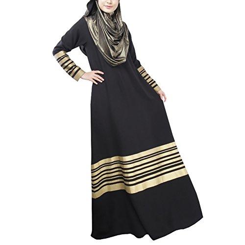 Highdas Muslim Das langärmelige Kleid lgold gedruckten Balken nationalen  Kleid Schwarz