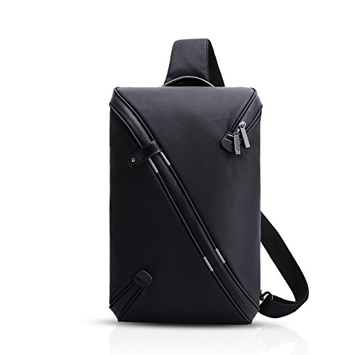 FANDARE Mode Sling Bag Umhängetasche Messenger Bag Hiking Bag Crossbody Bag Rucksack Wasserdicht Polyester Schwarz (Polyester Sling)