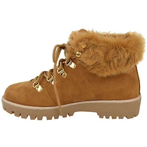Damen Winter Knöchelhohe Stiefel Mit Pelzfutter Flach Niedriger Absatz Profilsohle Schuhe Größe UK Hellbraun Kunstwildleder