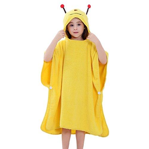 Zwei Tier-handtuch (MICHLEY Kinder Bademantel BadePoncho Mädchen Kapuzenbadetuch Baby Badetücher 70x70cm Baumwolle Tier fit für 2-6 Jahre(Biene))