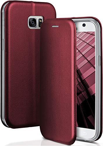 ONEFLOW® Premium Booklet mit unsichtbarem Magnetverschluss + Aufstellfunktion kompatibel mit Samsung Galaxy S7 | Exklusive Lederoptik, Wein-Rot