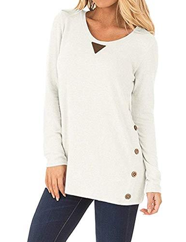 FeelinGirl Mujer Camiseta de Manga Larga con Cuello Redondo Blusa Casual de Algodón Camisa Sólido Blanco XXL
