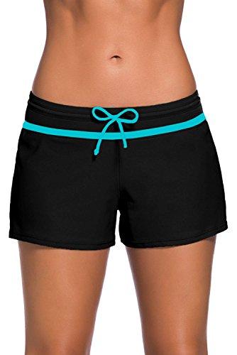 Short de Bain Femme Bas de Maillot de Bain Shorty Sport Shorts de Plage avec Cordon, Noir Bleu M