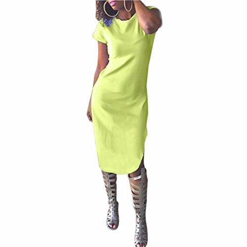 QIYUN.Z Couleur Unie Cote Manches Courtes Femmes Fente Haute Cheongsam Robe Sexy De Clubwear Vert fluorescent