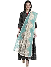Dupatta Bazaar Woman's Ivory & Aqua Blue Cotton Net Dupatta With All Over Embroidery.