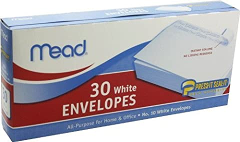 Mead 4 1/8 in x 9 in White Self-Adhesive Envelopes, 30-Count by Mead