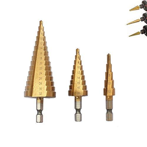 4in Hex Shank Drill Bit (OxoxO Titanium Step Drill Bit Set Hex Shank,Power Tools Cone Titanium Coated Metal Hole Cutter 1/4