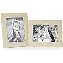 Juego de 2 marcos 15x20 cm casa de playa, rústico blanco, madera maciza con cristal y accesorios / marco de fotos