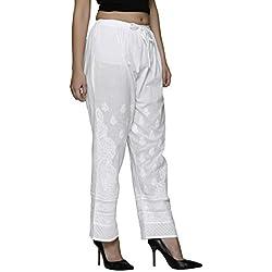 Indiankala4u Palazzo Pants For Women Trousers Leggings Salwar Chikankari Hand Embroiderd , White Cotton