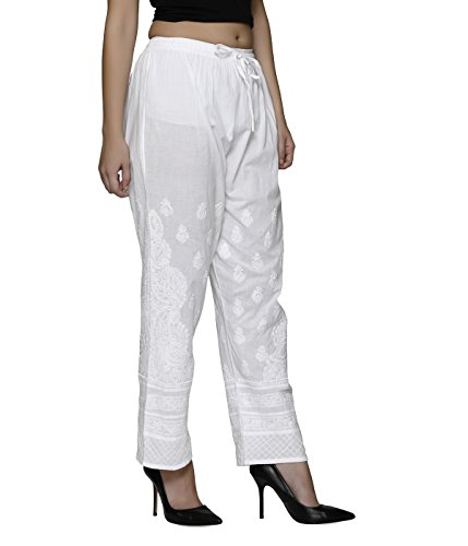 Indiankala4u Palazzo Pants For Women Trousers Leggings Salwar Chikankari Hand Embroiderd , White Cotton
