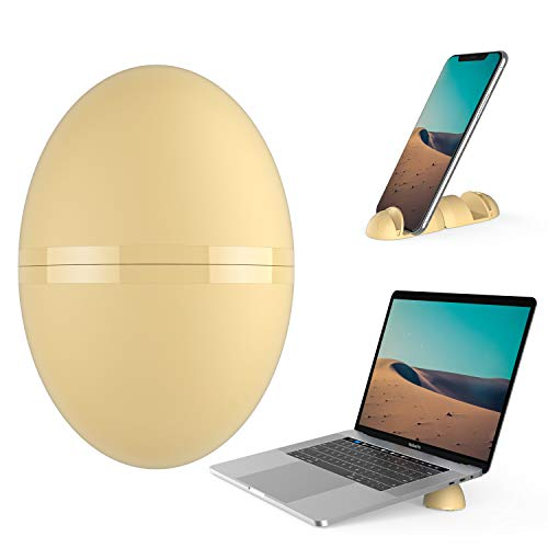 Egg Shaped Phone&Laptop Stand,Portable Cute Ellipse Stand Built-in Cellphone Holder&Notebook Holder,Klearlook Air-Ventilation Anti-Skid Notebook Support Cooling Stand for Smartphone&Tablet/Laptop