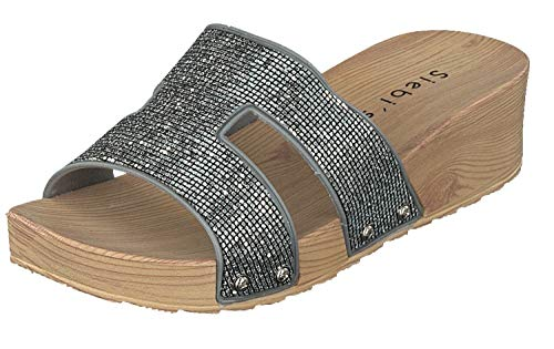 Siebi's Como Badeschuhe Strandschuhe Pantoletten Damen: Größe: 41 EU | Farbe: Silber