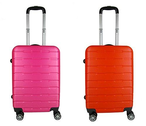 coppia Trolley Bagaglio a mano ABS rigido 8 ruote FG Travel fuchsia red