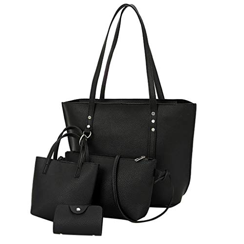 FOANA Damen Handtaschen Schultertasche Geldbörse Kartenhalter Tasche Damen Umhängetasche Canvas Umhängetasche Handtasche in Kontrastfarbe (Schwarz, 1)