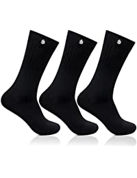Bonjour Mens Cotton Black Crew Length 3 Pair Ribbed Socks_BRO121ME-PO3