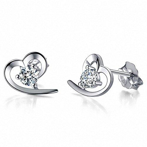 J.Vénus Damen Ohrstecker Set Basic 925 Sterling Silber Ohrringe Damen, Liebe Herz Ohrringe Geschenk für Frauen Mädchen, Schmuck mit Geschenkbox