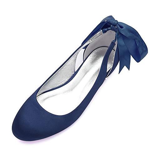 AIMISHOES Dame Round Toe Satin Flats Ankle Stap Braut Hochzeit Schuhe Sweet Bowknot Side Party Prom Mädchen Wohnungen,Navy blau,37
