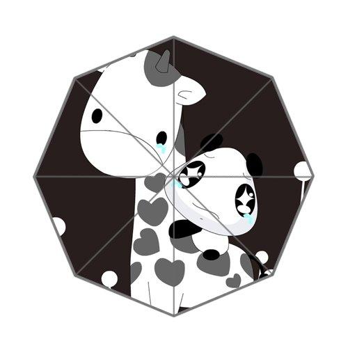 Weinen Little Panda mit Giraffe Design Regenschirm, schwarz und weiß (Stoff Schwarze Weiße Giraffe Und)