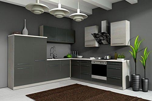 Küche Sophie 280x270 cm Küchenzeile in grafit grau/Eiche Chamonix - Küchenblock variabel stellbar