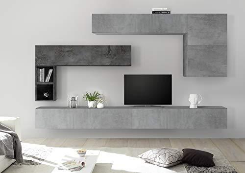 Arredocasagmb parete attrezzata composizione sospesa soggiorno moderno bianco lucido noce effetto cemento ossido pensile porta tv over 82 (effetto ossido - effetto cemento)