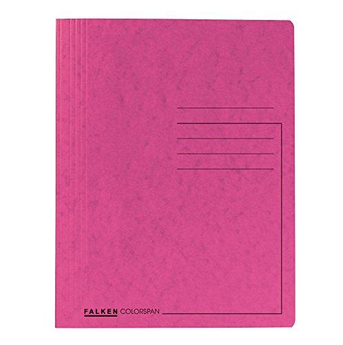 Falken Premium Spiralhefter aus extra starkem Colorspan-Karton für DIN A4 kaufmännische Heftung Pastell-Farbe pink Hefter Sammelmappe...