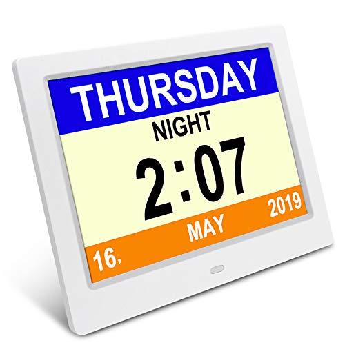 Demenz-Tagesuhr, Gedächtnisverlust Digitalkalender-Tagesuhr, mit extra großem nicht abgekürztem Tag u. Monat. Perfekt für Senioren (8