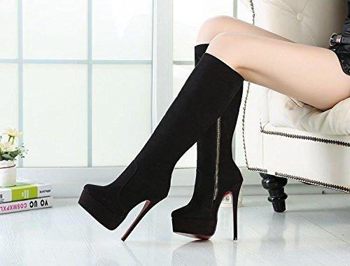HeiSiMei tacco alto stivali / tacchi a spillo / stivali sopra il ginocchio / punta rotonda delle donne / Spesso fondo impermeabile piattaforma / ufficio & carriera / Party & Sera / sposa / vestito / a 1-45