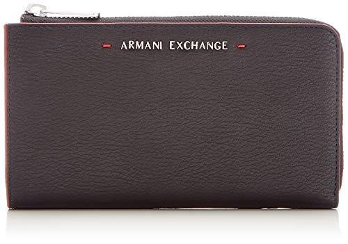 Armani Exchange Damen Stitched Round Zip Wallet Geldbörse, Schwarz (Nero), 10.1x2.5x19.0 cm