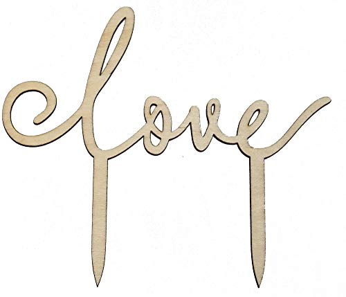 Miss Lovely Kuchen-Aufsatz Romantic Love / Kuchen-Stecker / Torten-Aufsatz Echt-Holz / Hochzeit-sdeko / Kuchen-Dekoration / Hochzeits-Torte / Cake-Topper Liebe Gebäck