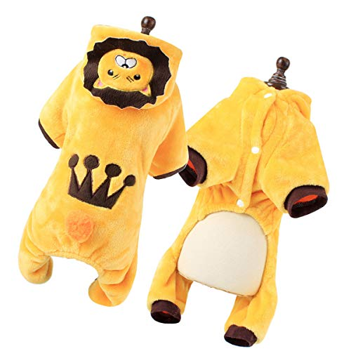 Soft Kostüm Lion - Amosfun 1 Pc Warm Comfortable Adorable Soft Lion Jumpsuits Kleidung Kostüm Hoodie Outfit für Welpenkäffchen