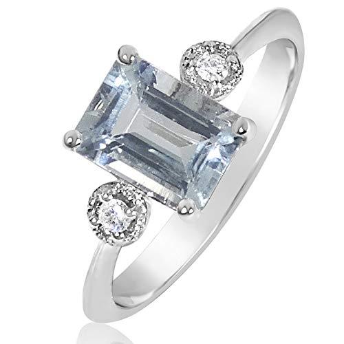 6ab27757980c Anillo Mujer Compromiso Oro y Diamantes - Oro Blanco 9 Quilates 375  Diamantes 0.03 Quilates -